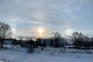 Над Белозерском запечатлели редкое природное явление – зимнюю радугу