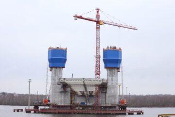На Архангельском мосту в Череповце произведена надвижка второго пролетного строения