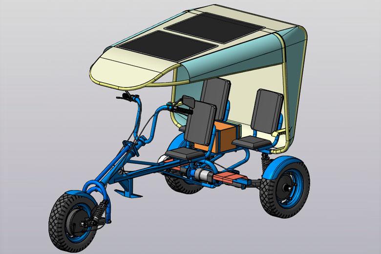 Вологодские студенты спроектировали велорикшу с подзарядом от солнечных панелей